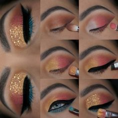 Winged Eyeliner Stamp India about Eye Makeup Looks Crazy. Eye Makeup Looks Step By Step onto What Colour Eyeliner Looks Good With Brown Eyes Teal Eye Makeup, Makeup Eye Looks, Eye Makeup Steps, Cute Makeup, Eyeshadow Looks, Skin Makeup, Eyeshadow Makeup, Eyeshadow Palette, Makeup Box