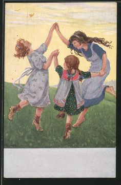 Künstler-AK Franziska Schenkel: Frühlingsabend, tanzende Mädchen auf einer Wiese…