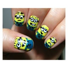 My Nails / Minion Nails ❤ liked on Polyvore