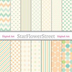 Mint Green and Peach Digital Paper Scrapbook - polka dots stripe pattern background 12x12 patterns scrapbooking create wedding shower baby by StarFlowerStreetDA