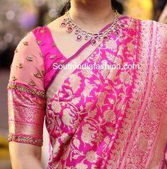 8 Stunning Blouse Patterns for Banarasi Silk Sarees – South India Fashion maggam embroidered blouse designs for banarasi sarees Wedding Saree Blouse Designs, Pattu Saree Blouse Designs, Blouse Designs Silk, Designer Blouse Patterns, Blouse For Silk Saree, Pattern Blouses For Sarees, Saree Blouse Patterns, Saree Dress, Blue Blouse