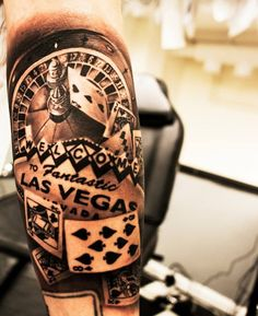 Amazing 3D Roulette Gambling Tattoo Playing Cards