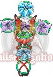 Butterfly and Flower Cross at BullseyeTattoos.com