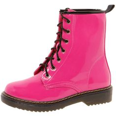Iliana Fuchsia Lace Up Patent Boot ($60) ❤ liked on Polyvore