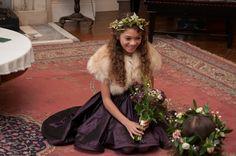 Gorgeous winter flower girl inspiration. Faux faux bolero by Blanche in the Brambles. Dress by Damselfly.