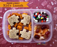Quick, easy, and simple kid lunch! I just like the puzzle piece sandwich cut outs!! Cute!!!
