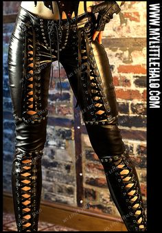 Lace up leather gothic pants with lace up thighs, lace up crotch & studded faux leather knee panels, with spandex back