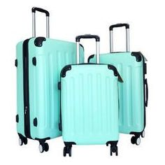 Zota 3Pc Luggage Set Hardside Rolling 4Wheel Spinner CarryOn Travel Case ABS Mint