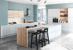 Très belle cuisine blanche et bois aux touches de bleu gris avec coin repas int... - #aux #avec #belle #blanche #bleu #bois #coin #Cuisine #de #gris #Int #repas #touches #très