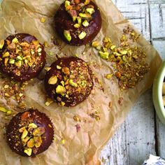 Chocolate Cupcakes with Chocolate Ganache and Pistachio Nuts