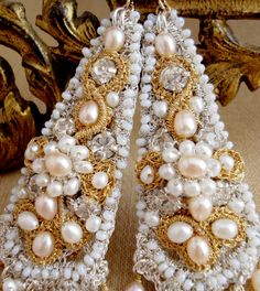 Hélène Wedding Earrings | Handmade Silver and Gold Lace with Peach Pearls | by Edera Jewelry