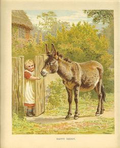 Edwardian Ernest Nister Childrens Print Blonde Hair Young Girl In Red Dress Smock Feeding Donkey Garden Gate Antique Colour Bookplate Ernest, The Donkey, Down On The Farm, Farm Yard, Antique Prints, Cute Cards, Vintage Paper, Illustration Art, Illustrations
