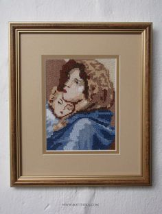 Madonna with the Child - cross stitch embroidery 14x11 cm made by Botthéka  Anno MMXIII on Christmas time http://bottheka.com/en/bonam-notitiam