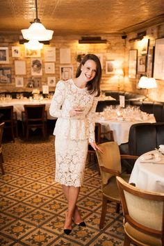 Chic London Wedding--lace dress by Sophia Kah that she wore to their evening dinner