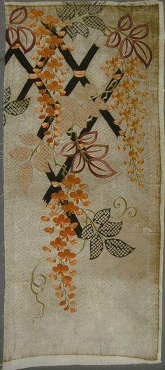 Fragment of Kosode (Kimono) with Design of Wisteria and Fence | LACMA Collections