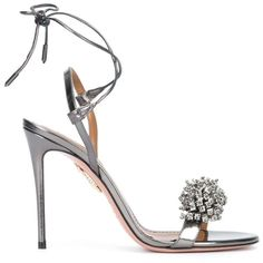 Aquazzura Monaco 105 Embellished Sandals (2,080 PEN) ❤ liked on Polyvore featuring shoes, sandals, heels, grey, grey suede shoes, strappy heeled sandals, suede sandals, strap heel sandals and ankle strap shoes