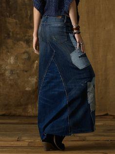 Ralph Lauren Patched Denim Maxi Skirt in Blue (biscayne wash) | Lyst