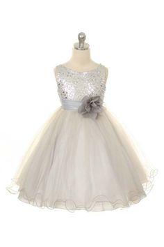 Ulass Flower Girl Dress Silver Sequin Dress, Special Occasion dress, Wedding…