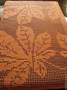 Текстиль, ковры ручной работы. Ярмарка Мастеров - ручная работа. Купить Вязаная квадратная скатерть на стол Листья каштана. Handmade.