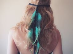 Hairband – Feather Turquoise Headpiece boho hippie style, festval hair accessories, gipsy – a unique product by FringeandFeather via DaWanda.com