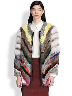Elizabeth and James Terra Striped Rabbit & Coyote Fur Coat
