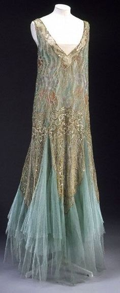 this speaks Mermaid to me~~~; gorgeous 1920's slik chiffon, tulle beaded gown~~~~~~