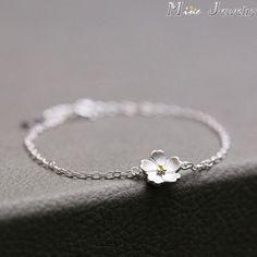 925 Sterling Silver Bracelets Pure Sterling Silver 925 Cherry Blossoms Bracelets Jewelry Pulseras Pulseira