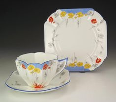 Shelley China - Queen Anne Shape - Poppies Pattern Trio - Art Deco!