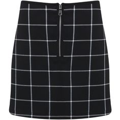Miss Selfridge Check Zip Front Mini Skirt (€44) ❤ liked on Polyvore featuring skirts, mini skirts, bottoms, black, front zipper skirt, miss selfridge, short mini skirts, checked skirt and zip front skirt