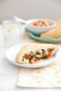 Veggie Chickpea Pitas with Yogurt Dill Sauce | Annie's Eats by annieseats, via Flickr