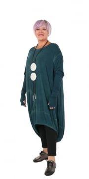 Green Dipped Hem Long Tunic