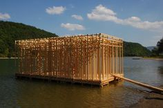 Hello Wood Festival in rural Hungary Floating Architecture, Temporary Architecture, Timber Architecture, Sustainable Architecture, Architecture Details, Landscape Architecture, Urban Landscape, Landscape Design, Hello Wood