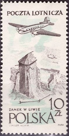 Sello: Ruins of Liwa castle (Polonia) (Flight around Europe Air Race - Victory) Mi:PL 936 Vintage Stamps, Stamp Collecting, Astronomy, Stamp Book, Castle, Vogue, Airplanes, Planets, Universe