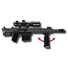 """If you are looking for a menacing combat weapon to accessorize your military minifig with, then look no further than the M83 Tactical Sniper Rifle. This tiny plastic sniper rifle features an attached scope, flash suppressor on the barrel, and even a removable swinging bipod stand that will give your minifigure the stability he needs to snipe off the enemies. At just over 1.5"""" (4cm) long and approximately 5/8"""" (1.9cm) tall, this is the perfect sized weapon to give your minifigs the upper hand…"""
