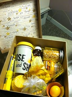 Little Box of Sunshine to brighten someone's day. Peacefulmoon@live.com. I like the lid of this sunshine box and that it has a nice assortment of treats...both food and non-food.