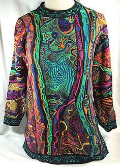 Just a big too ugly, but this sold for $225. WOW!!! - Coogi Sweater Women's Art to Wear Jungle Animals Safari Rare Bright Colors Sz SS in Clothing, Shoes & Accessories   eBay