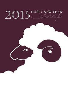 sheep///ダークトーンひつじ 年賀状 2015 羊 無料 イラスト1