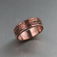 Copper Bark Band Ring by johnsbrana on Etsy, $65.00