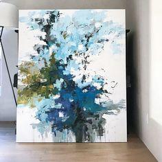 """Swimming in the Rain"" 66x54 @kelseymichaelsfineart #lifeinthetropics #miamibeach #islandlife #abstractlandscape #landscapepainting #contemporarypainting #contemporaryart #abstractart #abstract #la #lagunabeach #painting #modernart #color #interiordesign #interiors #blue #carlosramirez"