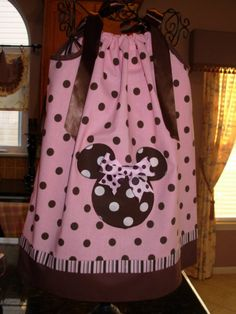 Minnie Mouse Pillowcase Dress Pink and Brown Polka Dots