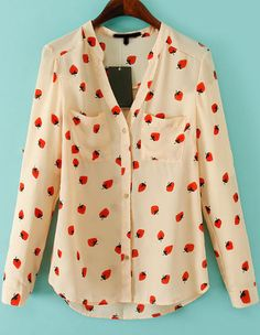 Strawberry Print Blouse 14.17 - quirky fun blouse