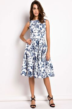 Demure Floral Boat Neck Skater Dress OASAP.com