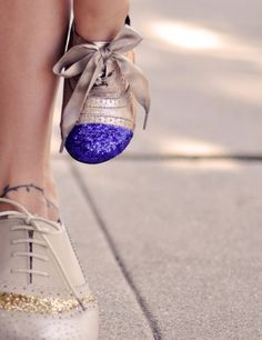 DIY Glitter Cap Toe Shoes  This is a fun shoe DIY for kids or adults alike. Make flats or heels more stylish and fun!