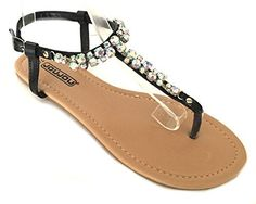 Womens Roman Gladiator Sandals Flats Thongs WBuckle 4 Colors 11 Black 6398 * Find out more details by clicking the image