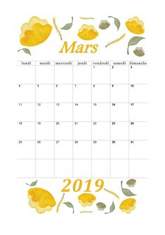 Calendrier mensuel 2019 : mois de mars Blog Planner Printable, Printables, Bullet Journal 2019, Paper Toys, Lund, Marie, Stationery, How To Plan, Deco