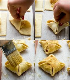 This apple turnover has a slightly crispy outer layer with soft, pillowy dough filled with warm apple. It's easy to make thanks to puff pastry sheets. Apple Turnovers With Puff Pastry, Puff Pastry Dough, Frozen Puff Pastry, Puff Pastry Sheets, Puff Pastry Recipes, Apple Desserts, Apple Recipes, Sweet Recipes, Brunch Recipes