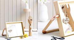 Un miroir en bois et cuivre à poser
