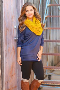 Favorite Dolman Tunics The Scarf really adds just the right amount of bright color.