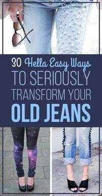 30 Hella Easy Ways To Seriously Transform Your Old Jeans - diy projects Diy Pantalon, Jean Diy, Abaya Mode, Diy Kleidung, Diy Mode, Clothing Hacks, Clothing Ideas, Diy Clothes Hacks, Sport Clothing