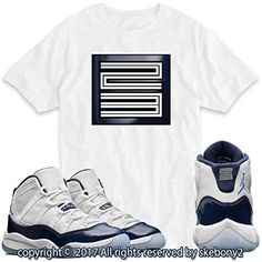 da6cfa69faa5 Custom T Shirt Matching AIR Jordan 11 Win Like  82 Navy JD-11-2-4